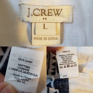 J. Crew Factory Tops - J.Crew Linen White and Navy Pop Over Shirt